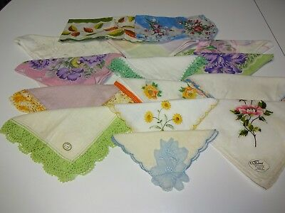 Estate Mixed Craft/Cutter Lot 15 Vintage Ladies Handkerchiefs/Hankies