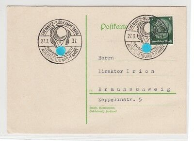 Germany:1937:Postcard from 'CHEMNITZ',With two BALLON Flight Cachets,