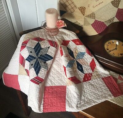 Vintage Antique Old Americana Red White Blue Star Patchwork Quilt Piece #1