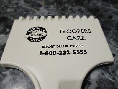 Vintage Ky State Police Trooper Advertising Ice Scraper White