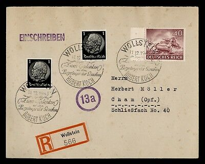 DR WHO 1943 GERMANY WOLLSTEIN REGISTERED ROBERT KOCH SPECIAL CANCEL  d76651