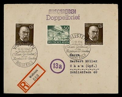 DR WHO 1943 GERMANY WOLLSTEIN ROBERT KOCH SPECIAL CANCEL REGISTERED  d76652
