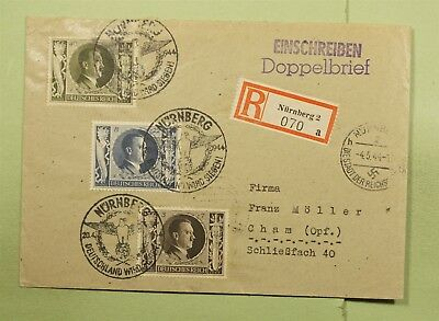 Dr Who 1944 Germany Nuremberg Registered Pictorial Cancel C68517