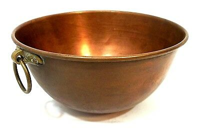 """Vintage Solid Copper Mixing Bowl w/ Brass Ring 10"""" x 5"""" Round Bottom 4 QT *F/S!*"""