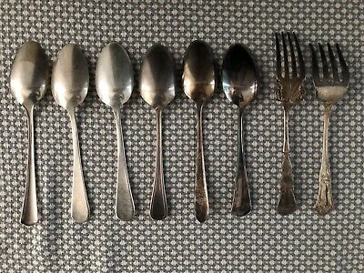 Mixed Lot 8 Pcs. Vintage Silverplate Serving Spoons & Forks