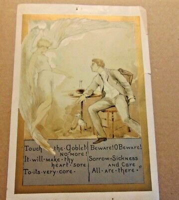 19th ,early 20th Century Temperance Movement , Illustrated Poem,7 X 9 1/2 inches