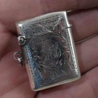 Antique Sterling Silver Vesta Match Box / Case By Charles Lyster & Son, 1905.