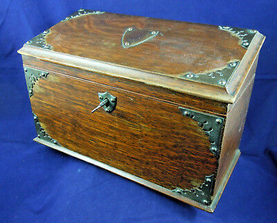 Victorian Oak Stationery Box With Plated Mounts And Key