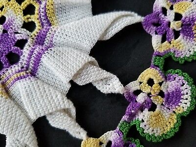 PANSY Crochet  Doily with white crocheted center Pansy Doily Purple Green Yellow
