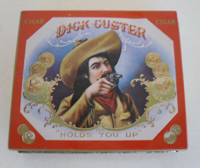 """Vintage Dick Custer Holds You Up Empty Cigar Tin Box Case 3 1/2"""" x  3"""" Red Gold"""