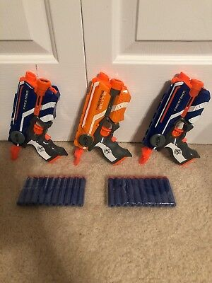 NERF Gun Lot - 3 N-STRIKE FIRESTRIKE Foam Dart Guns - 20 Darts Batteries