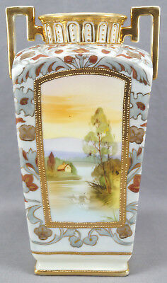 Nippon Hand Painted House & Swans & Grey & Red Floral Moriage Vase AS IS