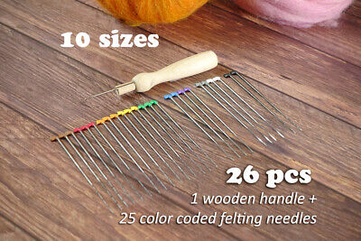 Color Coded 9 sizes Felting Needles Set ( 28 pcs) with Wooden Handle