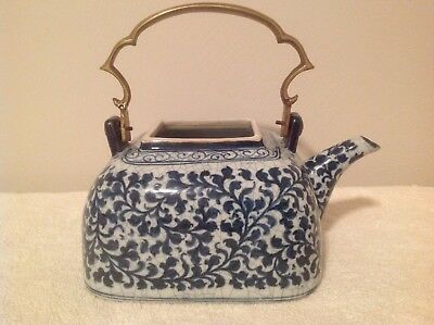 Vintage Japanese / Chinese Blue and White Ceramic Teapot with Brass Handle