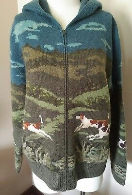 Ralph Lauren Vintage hand knit sweater, hounds, Women's Large, EUC!