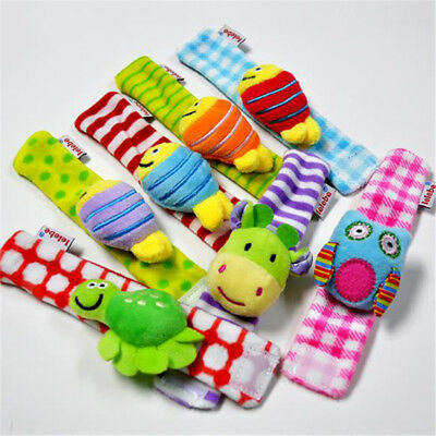 Cute Animal Infant Baby Kids Hand Wrist Wrap Bell Foot Rattles Soft Toy Gift BS