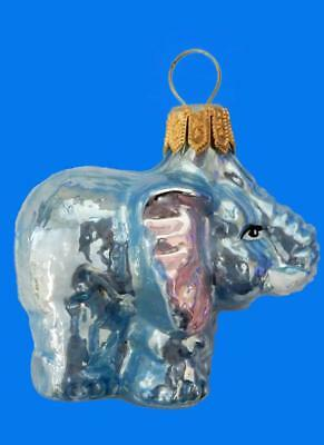 Blue Pink Circus Elephant European Blown Glass Christmas Tree Ornament Circus