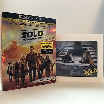 Solo - A Star Wars Story (4K UHD + Blu Ray + Digital) w/ SLIP COVER & Lithograph