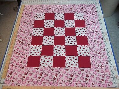 Handmade Unfinished Quilt Top Hearts & Red Squares W/Heart Border App. 39x34(1)