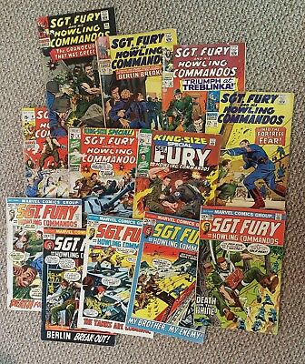 13 Sgt. Fury Comic Lot 1960S And 1970S