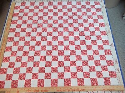 Handmade Quilt Top Postage Stamp Red Hearts & White Approx. 34x34 (3)