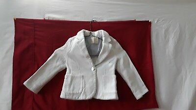 ZARA Girls Soft Collection Outerwear White Jacket Size 5 110cm 5 YRS PRE-OWNED
