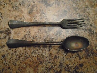 18th Century (1700's) Pewter Fork & Spoon