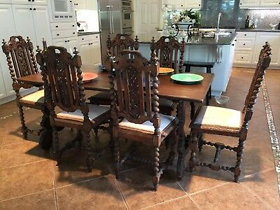Antique Celebrity Owned Spanish Dining Room Table And Chairs