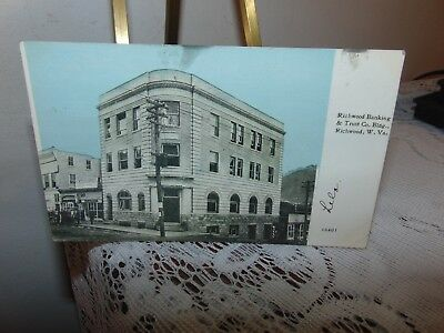 1918 Richwood W va Bank&Trust Building Postcard