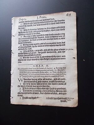 1612-King James New Testament Leaf-1st Ed.-Small Quarto-Random Leaf!!