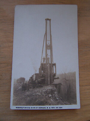 Postcard of Gorham New Hampshire Washout on the B&M RR 1924 Real Photo Card