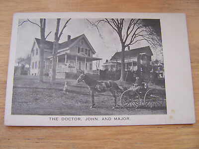 Postcard of Gorham New Hampshire The Doctor,John and Major Black and White