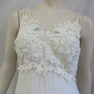 Vintage Wedding Dress Gown Lace Overlay Empire Small Womens