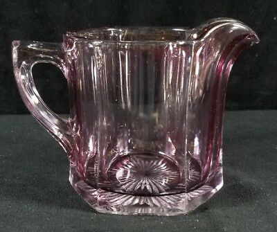 Antique 1870s-1880s Purple Tinted Paneled Glass Pitcher Cut Glass Star Holds 1C