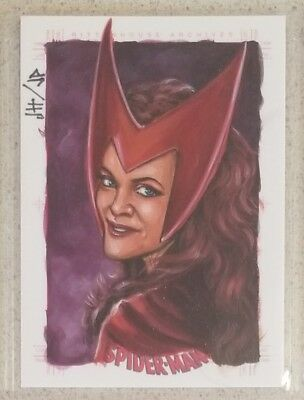 Spiderman Archives Scarlet Witch Painted Sketch Card - JH/JP