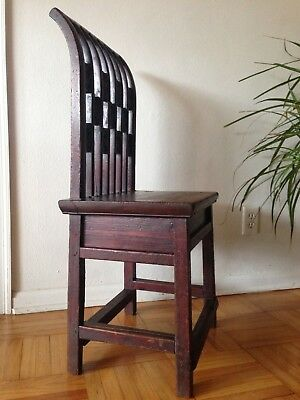 Old Small Rustic Yoke Back Side / Vanity Chair Hand Carved Floral Chinese Asian