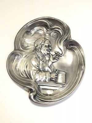 Antique Sterling Silver Smoking Man Art Nouveau Ashtray Unger Brothers Style