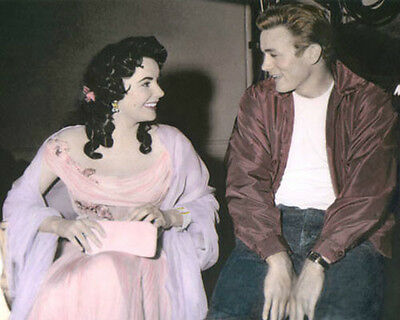 "ELIZABETH TAYLOR JAMES DEAN GIANT 1956 ACTORS 8x10"" HAND COLOR TINTED PHOTO"