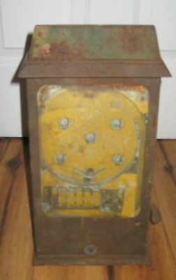 Antique Table Top Penny Arcade Game Poker Counter Top Cards Rare Vintage 1930s