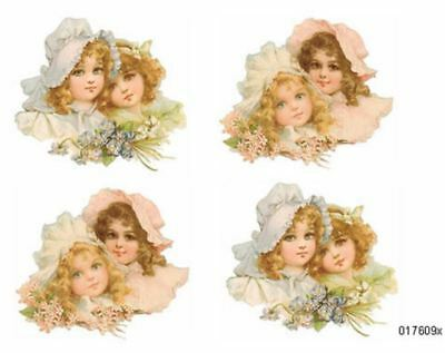 VinTaGe IMaGe VicToRiaN PinK & BLuE GiRLs WiTh HaTs ShaBby WaTerSLiDe DeCALs