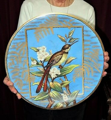 Large Antique French Faience Wall Charger Plate Bird 19th Century Signed