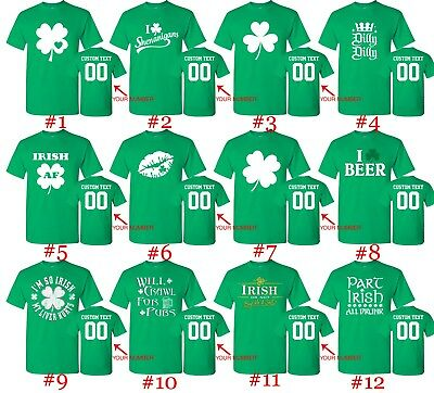 e3603c65394c0 Customized St. Patricks Day T Shirts Text Custom Name Number St Patty Irish  Day