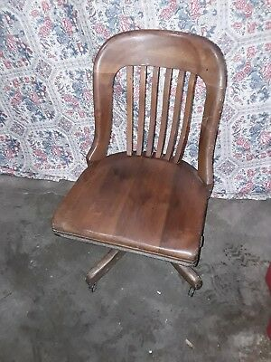 Antique SWIVEL OFFICE CHAIR WOODEN Banker Lawyer 1900s Taylor Chair Co