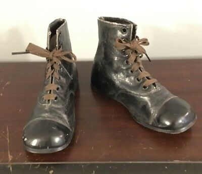 Antique Pair Of Edwardian Style Children's Lace Up Shoes Boots Black Leather