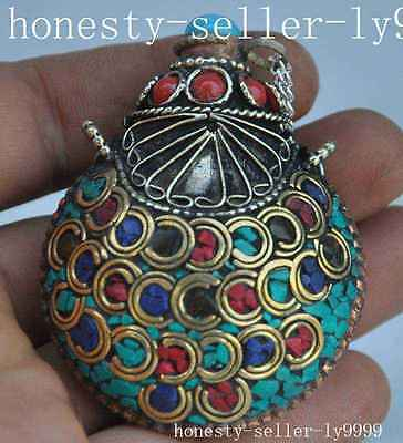 Chinese Dynasty copper mosaic Red Coral Turquoise Exquisite snuff bottle statue