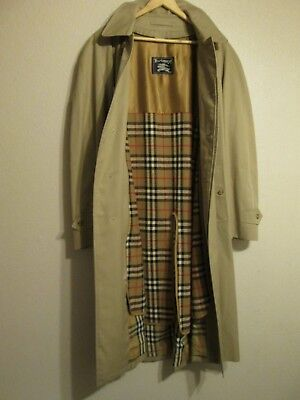 eadc5207058 Mens BURBERRY Single Breasted Trench CAR COAT Beige size 44 LONG Zip Out  Liner