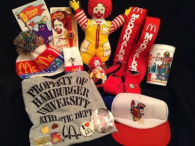 (16) Piece Mcdonalds Advertising Lot - Pins, Watch, Eagle Hat, Suspenders + More