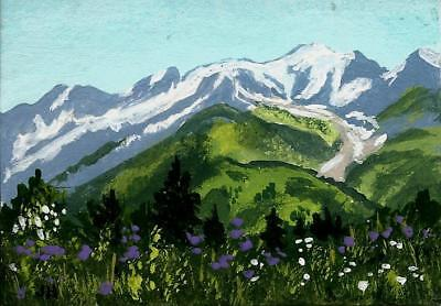 "aceo original acrylic painting ""High on a Mountain Meadow""  by J. Hutson"