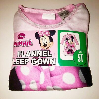 5t Minnie Mouse Flannel Nightgown Long Sleeve NEW