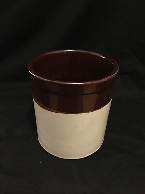"Pottery R.R.P. CO ROSEVILLE OHIO USA Brown & Tan 6"" Stoneware Crock"